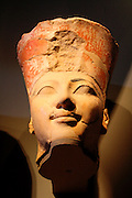 Head from Osiride Statues, originally positioned in the Upper Court Niches. Dynasty 18, joint reign of Hatshepsut and Thutmose 111 (ca 1473-1458 B.C.) Painted limestone.