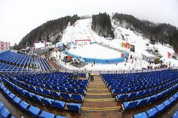 View on the track before the 1st Run of Men's Slalom - Pokal Vitranc 2013 of FIS Alpine Ski World Cup 2012/2013, on March 10, 2013 in Vitranc, Kranjska Gora, Slovenia.  (Photo By Matic Klansek Velej / Sportida.com)