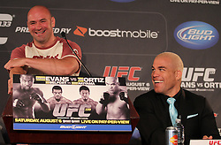 August 4, 2011; Philadelphia, PA; USA; UFC President Dana White and Tito Ortiz at the final press conference for UFC 133 at the Independence Visitors Center.