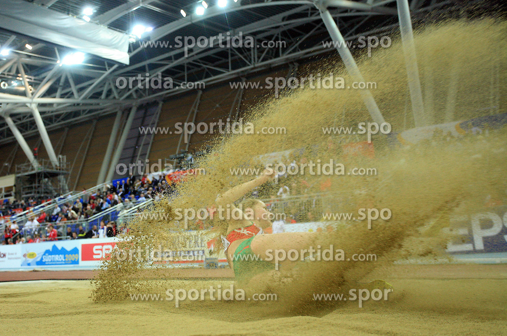 Belorussian triple  jump athlete Natallia Viatkina in the Qualification at the 1st day of  European Athletics Indoor Championships Torino 2009 (6th - 8th March), at Oval Lingotto Stadium,  Torino, Italy, on March 6, 2009. (Photo by Vid Ponikvar / Sportida)