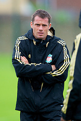 LIVERPOOL, ENGLAND - Tuesday, September 30, 2008: Liverpool's Jamie Carragher training at Melwood ahead of the UEFA Champions League Group D match against PSV Eindhoven. (Photo by David Rawcliffe/Propaganda)