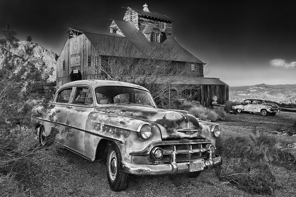 1950s Abandoned Chevrolets At Sunset - Eldorado Canyon Techatticup Mine - Nelson NV - HDR -  Infrared Black & White