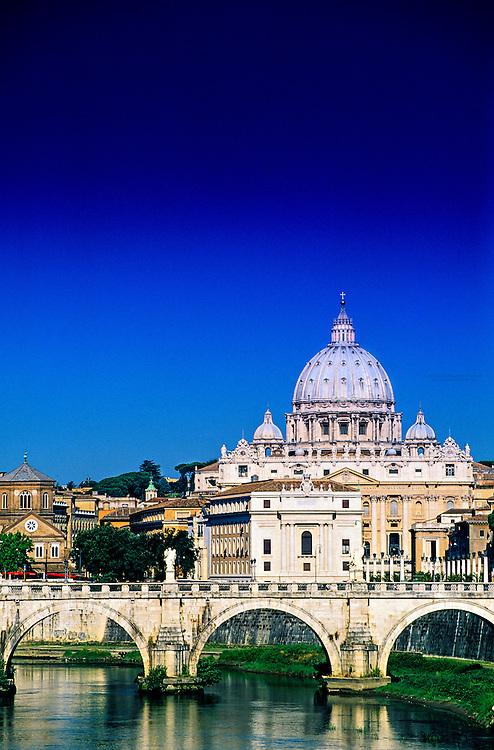 Ponte Sant' Angelo (bridge), St. Peter's Basilica in back, Rome, Italy