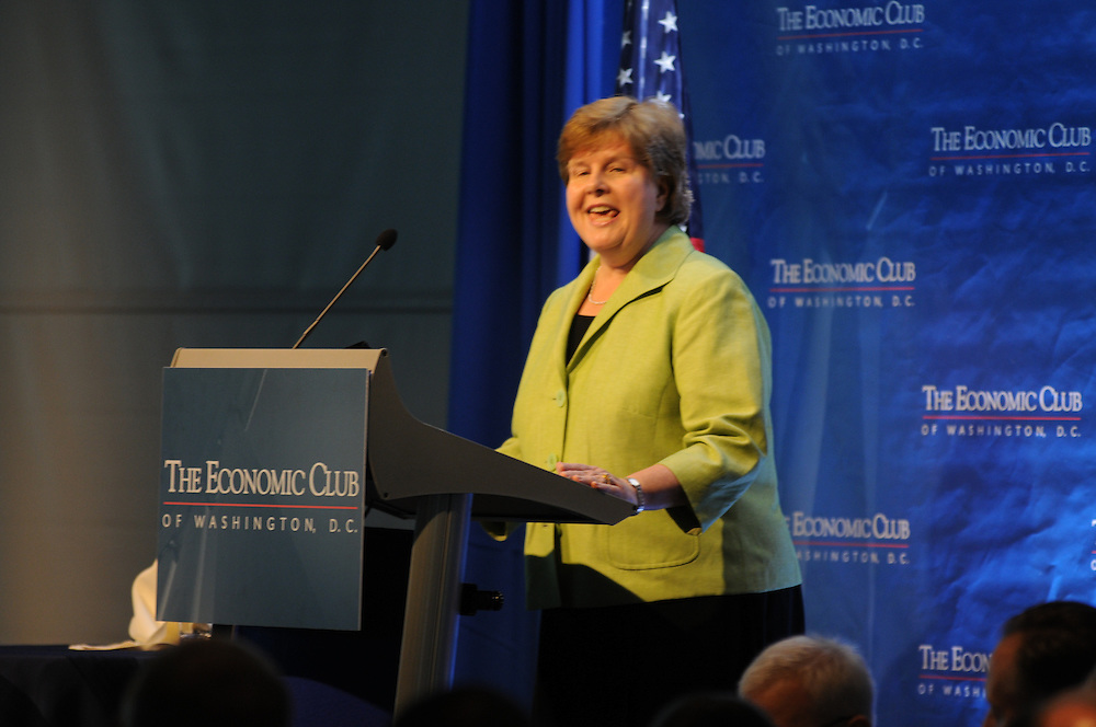 Dr. Christina Romer Chair of the Council of Economic Advisers addresses the members of the Economic Club of Washington at the Newseum in Washington DC