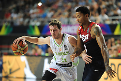 Goran Dragic of Slovenia vs Derrick Rose of USA during basketball match between National Teams of Slovenia and USA in Quarterfinals of FIBA Basketball World Cup Spain 2014, on September 9, 2014 in Palau Sant Jordi, Barcelona, Spain. Photo by Tom Luksys  / Sportida.com <br /> ONLY FOR Slovenia, France