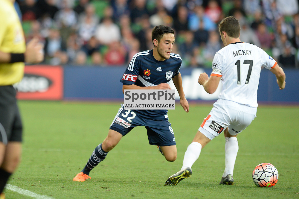 Stefan Nigro  of Melbourne Victory, Matt McKay (c) of Brisbane Roar FC - Hyundai A-League, January 15th 2016, RD15 match between Melbourne Victory FC v Brisbane Roar  FC in a 4:0 win to Victory in a comfortable win over Roar at Aami Park,  Melbourne, Australia. © Mark Avellino | SportPix.org.uk