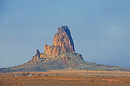Monument Valley, Agathla Peak, Navajo Indian housing, Navajo Nation, Arizona