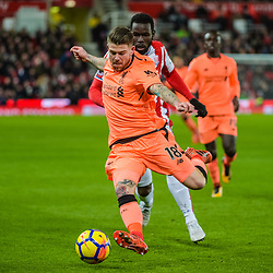 Liverpool defender Alberto Moreno (18) during the Premier League match between Stoke City and Liverpool<br /> (c) John Baguley | SportPix.org.uk