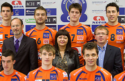 Sponsors Miha Lampreht, general manager of Radio Slovenia, Mojca Novak of Adria Mobil and Damijan Vuk of Avto Triglav at press conference of volleyball club ACH Volley before new season 2010/2011, on November 5, 2010, in Ljubljana, Slovenia. (Photo by Vid Ponikvar / Sportida)