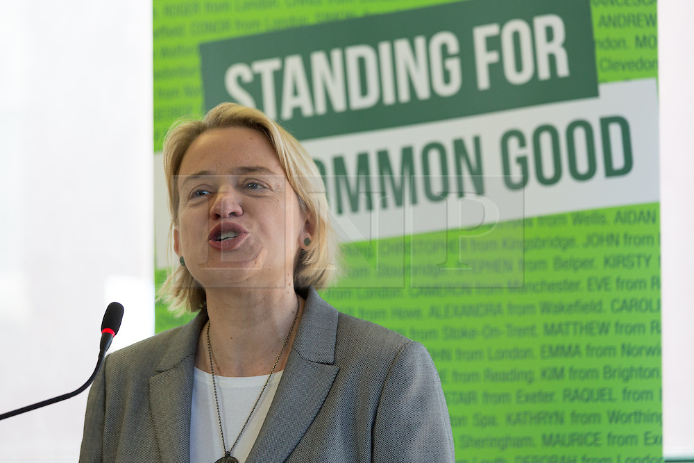 © Licensed to London News Pictures. 14/04/2015. London, UK. Green Party leader Natalie Bennett speaking at the Green Party manifesto launch, 'For the Common Good' at the Arcola Theatre in Dalston, east London today. Photo credit : Vickie Flores/LNP