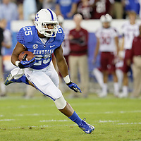 September 29, 2012 - Lexington, Kentucky, USA - UK's Jonathan George runs for a first down in the first half as the University of Kentucky plays South Carolina at Commonwealth Stadium. South Carolina won the game 38-17. (Credit Image: © David Stephenson/ZUMA Press).