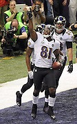 Baltimore Ravens receiver Anquan Boldin celebrates after he catches a touchdown pass against the San Francisco 49ers during the first quarter of Super Bowl XLVII at the Mercedes-Benz Superdome on February 3, 2013 in New Orleans.  UPI/David Tulis