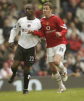Photo: Aidan Ellis.<br /> Manchester United v Charlton Athletic. The Barclays Premiership. 07/05/2006.<br /> united's Ole Gunnar Solskjaer returns to first team action against Charlton's Chris Powell