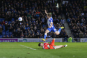 Brighton striker (on loan from Manchester United), James Wilson (21) passes Fulham goalkeeper Marcus Bettinelli (1) during the Sky Bet Championship match between Brighton and Hove Albion and Fulham at the American Express Community Stadium, Brighton and Hove, England on 15 April 2016. Photo by Phil Duncan.