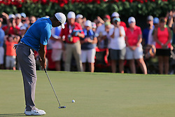 September 22, 2018 - Atlanta, Georgia, United States - Tiger Woods putts the 18th green during the third round of the 2018 TOUR Championship. (Credit Image: © Debby Wong/ZUMA Wire)