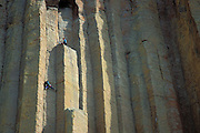 Rock climbers on the McCarthy West Face route (5.10b) on Devil's Tower, Devil's Tower National Monument, Wyoming