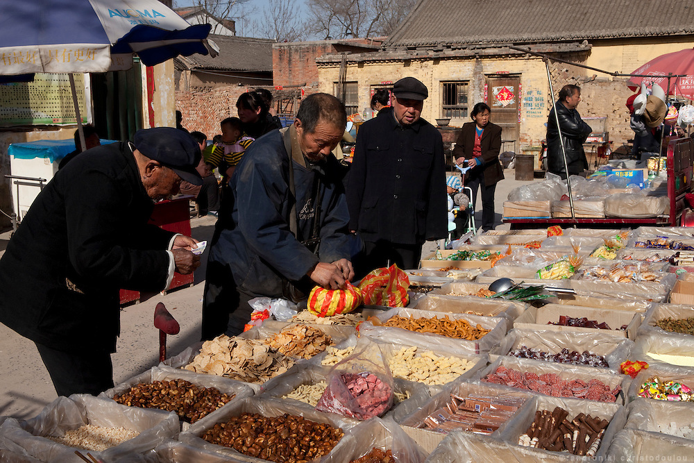 Street market in Chenjoagou village