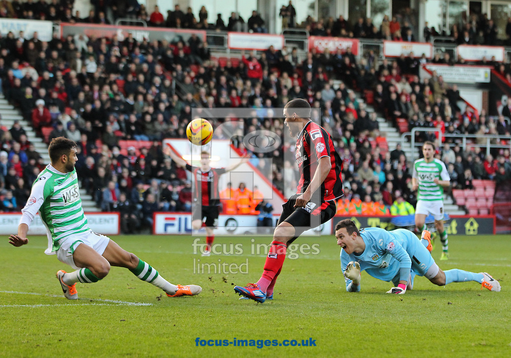 Picture by Tom Smith/Focus Images Ltd 07545141164<br /> 26/12/2013<br /> Lewis Grabban (centre) of Bournemouth rounds Marek Štēch (right) of Yeovil Town but misses a chance to score during the Sky Bet Championship match at the Goldsands Stadium, Bournemouth.