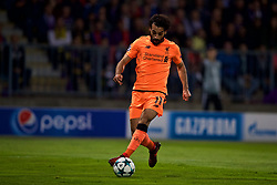MARIBOR, SLOVENIA - Tuesday, October 17, 2017: Liverpool's Mohamed Salah runs through to score the third goal during the UEFA Champions League Group E match between NK Maribor and Liverpool at the Stadion Ljudski vrt. (Pic by David Rawcliffe/Propaganda)