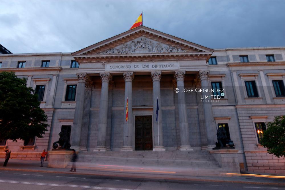 Congreso de los Diputados. Edificio neoclasico construido en 1850.<br /><br />The Congreso de los Diputados in Madrid. The neoclassical building was finished in 1850.