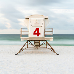 Pensacola Beach lifeguard tower four photo on Casino Beach. Pensacola Beach Florida is a coastal city on Santa Rosa Island in the Southeastern United States of America. Copyright ⓒ 2018 Paul Velgos with All Rights Reserved.