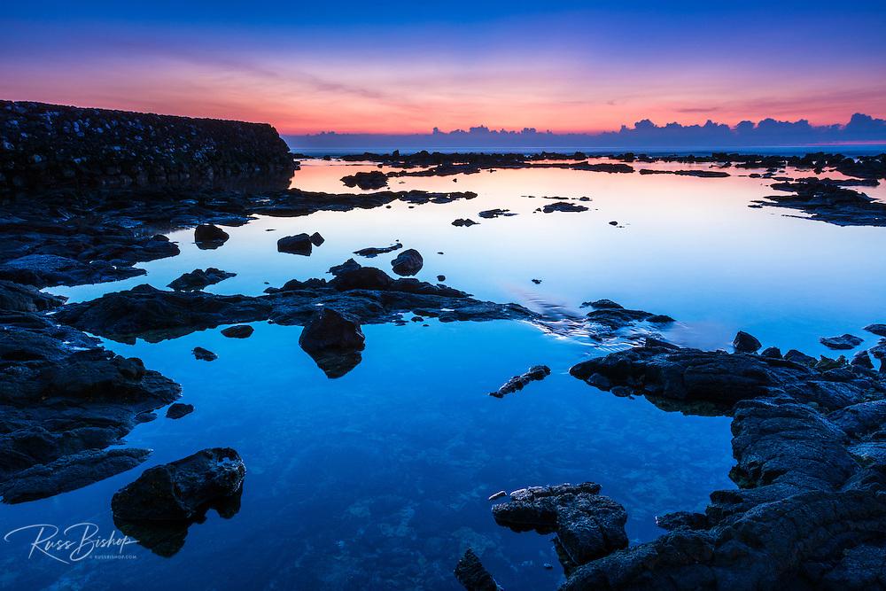 Sunset at Hapaiali'i Heiau (Temple for Elevating Chiefs) in Keauhou, Kona Coast, The Big Island, Hawaii USA