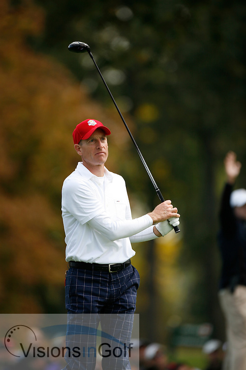 Jim Furyk<br /> in the morning foursomes on the first day of the 39th Ryder Cup 2012, Medinah Country Club, Chicago, USA 28/09/2012<br /> Picture Credit: Mark Newcombe  / www.visionsingolf.com