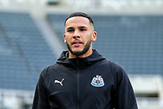 Jamaal Lascelles (#6) of Newcastle United arrives ahead of the Premier League match between Newcastle United and Liverpool at St. James's Park, Newcastle, England on 4 May 2019.