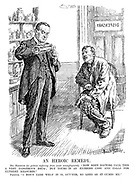 "An Heroic Remedy. Dr Baldwin (to patient suffering from acute unemployment). ""Now some doctors call this a very dangerous drug; but yours is an extreme case and calls for extreme measures."" Patient. ""I don't care what it is, guv'nor, so long as it cures me."" (Baldwin pours out 'Protectionism' medicine)"