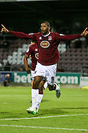 Picture by David Horn/Focus Images Ltd +44 7545 970036.30/08/2012.Clive Platt of Northampton Town celebrates his goal during the Capital One Cup match at Sixfields Stadium, Northampton.