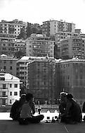 G8  Genova  Luglio 2001.Stadio Carlini sede del movimento dei disobbedienti.Pausa Caffe'