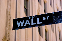 New York City, New York: Sign for Wall Street in Manhattan. .Photo #: ny236-14599  .Photo copyright Lee Foster, www.fostertravel.com, lee@fostertravel.com, 510-549-2202.