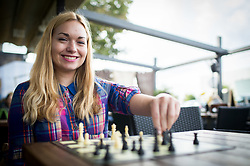 Laura Unuk during photo session after she became FIDE World Youth U18 Chess Champion 2017, on October 4, 2017 in BTC, Ljubljana, Slovenia. Photo by Vid Ponikvar / Sportida