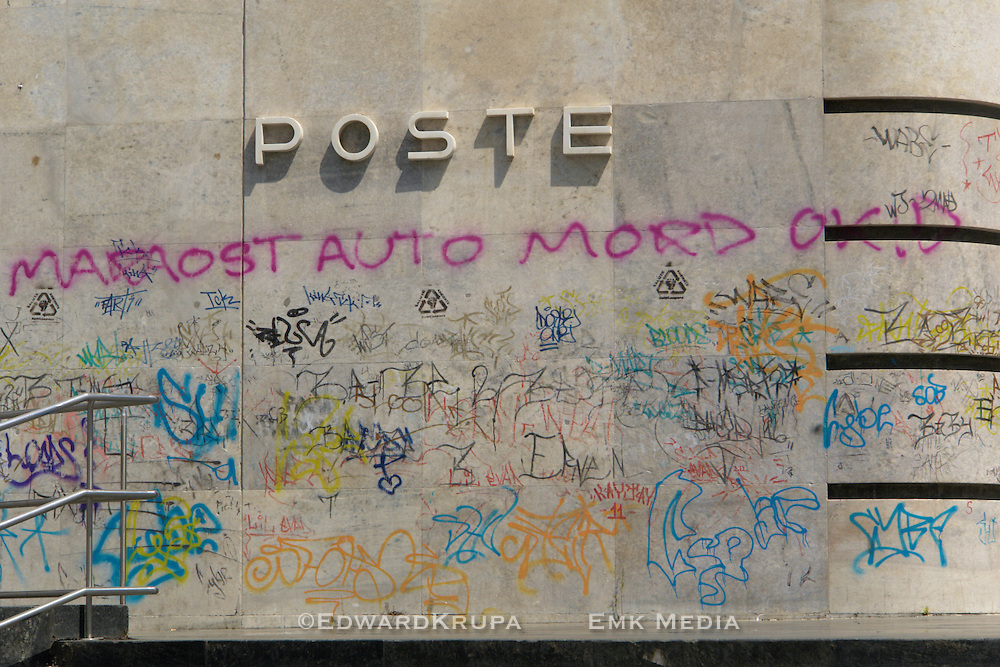 Tagged post office in Naples.