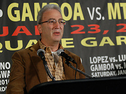 Dec 3, 2009; New York, NY, USA; Russell Peltz speaks at the press conference announcing the January 23, 2010 fights at Madison Square Garden.