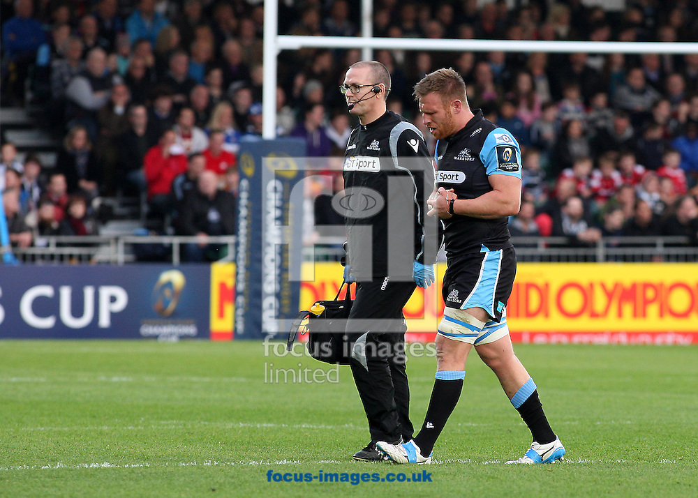 Tyrone Holmes of Glasgow Warriors goes off injured during the European Rugby Champions Cup match at Scotstoun Stadium, Glasgow<br /> Picture by Ian Buchan/Focus Images Ltd +44 7895 982640<br /> 18/10/2014