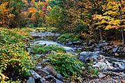 New Haven River winds through autumn foilage, Bristol, Vermont, USA.