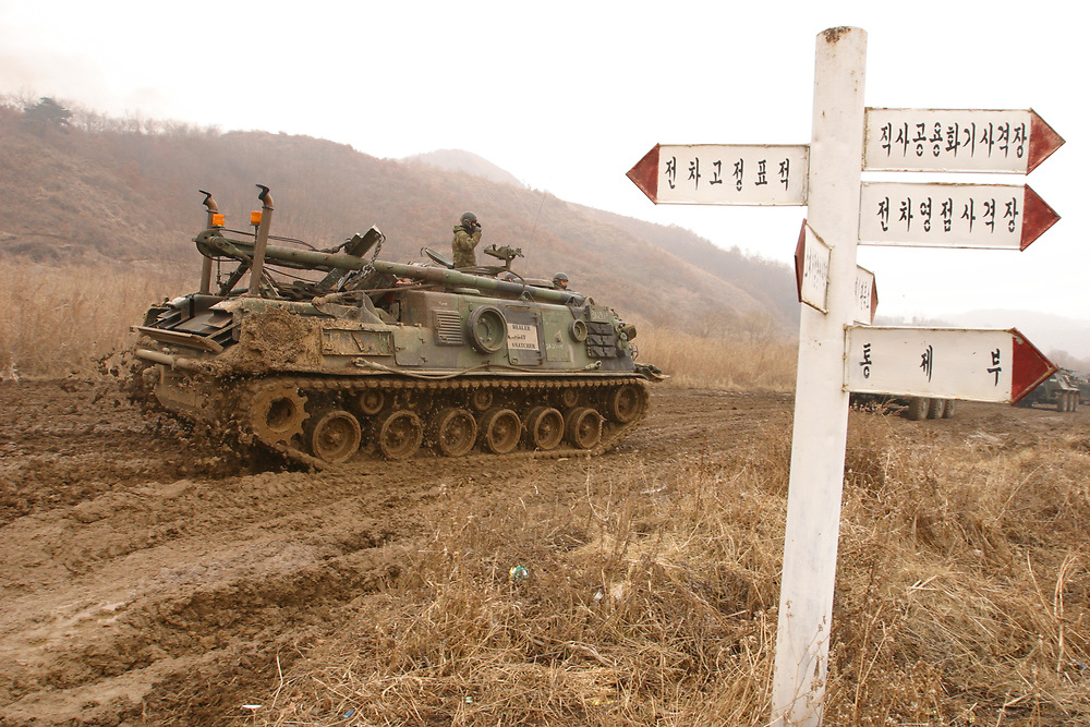 US and Korean (ROK) forces train near DMZ in annual exercises