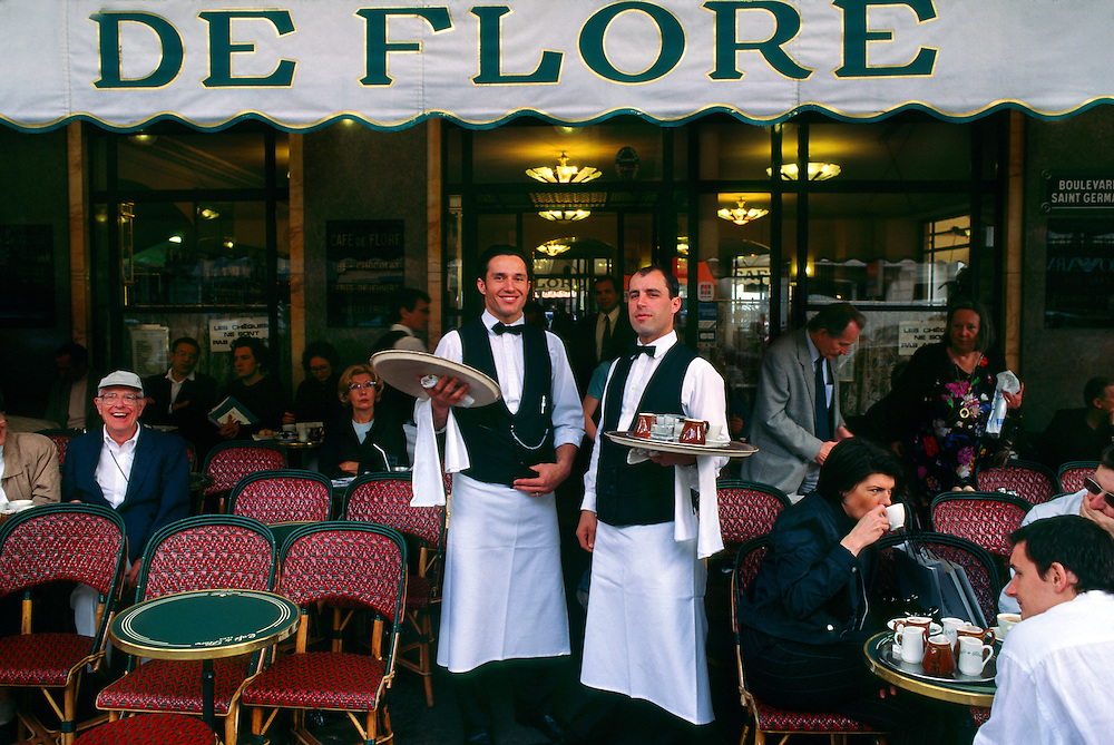 Waiters at Cafe de Flore, Boulevard St. Germain des Pres, Left Bank, Paris, France