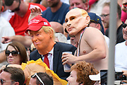 Fans in Donald Trump and Vladamir Putin fancy dress cosumes during the International Test Match 2019 match between England and Australia at Edgbaston, Birmingham, United Kingdom on 3 August 2019.