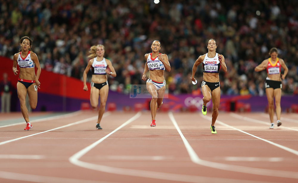 Jessica Ennis runs during the 200m portion of the women's heptathlon during track and field at the Olympic Stadium during day 7 of the London Olympic Games in London, England, United Kingdom on August 3, 2012..(Jed Jacobsohn/for The New York Times)..