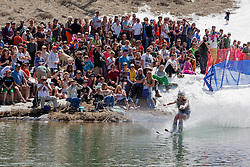 """""""Cushing Classic at Squaw Valley 6"""" - Photograph of a skier crossing a pond during the Cushing Classic at Squaw Valley, USA."""