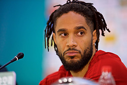 NANNING, CHINA - Sunday, March 25, 2018: Wales' captain Ashley Williams during a press conference at the Guangxi Sports Centre ahead of the 2018 Gree China Cup International Football Championship final match against Uruguay. (Pic by David Rawcliffe/Propaganda)