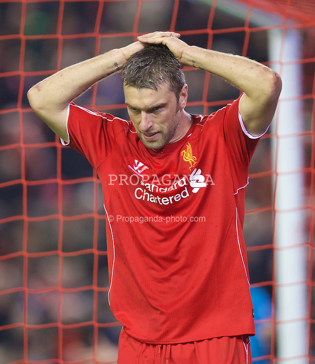 LIVERPOOL, ENGLAND - Saturday, November 29, 2014: Liverpool's Rickie Lambert looks dejected after missing a chance against Stoke City during the Premier League match at Anfield. (Pic by David Rawcliffe/Propaganda)