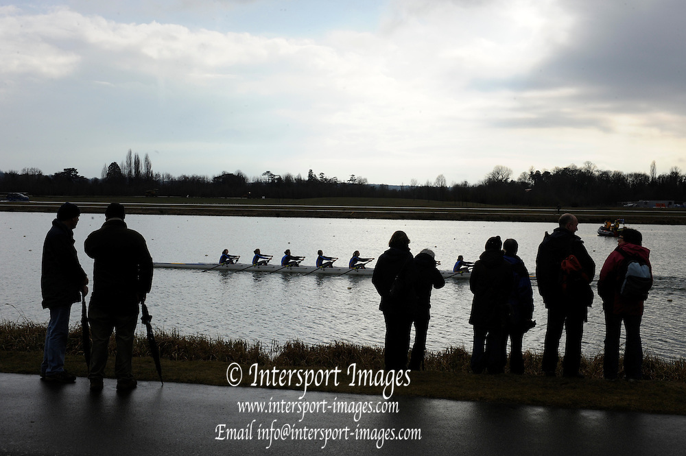 Eton. Great Britain,  General view,  8X, with spectators  at the 2010 OARSport Junior Sculling Head. [Scullery], Eton Rowing Centre, Dorney Lake, Berkshire, England,  12  - 12/03/2010  -  [Mandatory Credit. Peter Spurrier/Intersport Images]