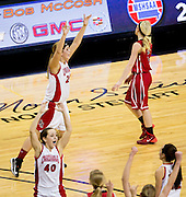 North Andrew's Danielle Chambers (24) reacts after hitting a three-pointer at the buzzer during Thursday's Class 1 semifinal basketball game against the Chadwick Cardinals during the 2014 MSHSAA Basketball Championships at Mizzou Arena on March 13, 2014 in Columbia. (David Welker | Special to the News-Press)