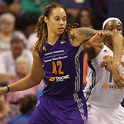 Brittney Griner, (left), Phoenix Mercury, holds her ground against Kelsey Bone, Connecticut Sun, during the Connecticut Sun Vs Phoenix Mercury WNBA regular season game at Mohegan Sun Arena, Uncasville, Connecticut, USA. 23rd May 2014. Photo Tim Clayton