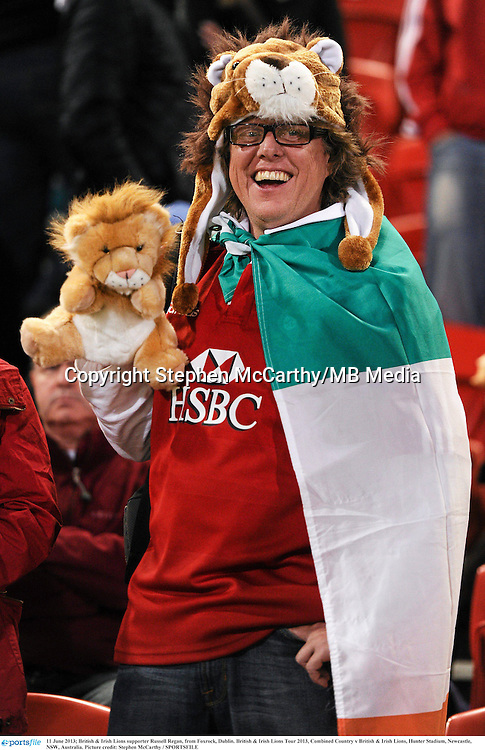 11 June 2013; British & Irish Lions supporter Russell Regan, from Foxrock, Dublin. British & Irish Lions Tour 2013, Combined Country v British & Irish Lions, Hunter Stadium, Newcastle, NSW, Australia. Picture credit: Stephen McCarthy / SPORTSFILE