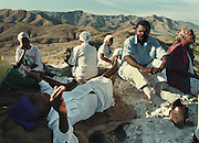 Haitians gather on a hilltop to pray for peaceful elections. US and UN troops arrived in Haiti as the first election since the coup and embargo that displaced Jean Bertrand Aristide takes place and Rene Preval is elected president. Port au Prince, Haiti, 1996.