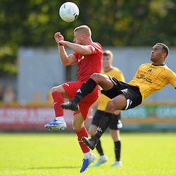 TELFORD COPYRIGHT MIKE SHERIDAN Darryl Knights of Telford battles for the ball with Russell Benjamin of Southport(formerly of AFC Telford) during the National League North fixture between Southport and AFC Telford United at Haig Avenue on Saturday, August 24, 2019<br /> <br /> Picture credit: Mike Sheridan<br /> <br /> MS201920-005